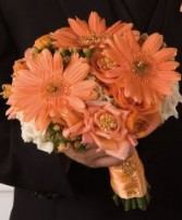 Just Peachy Gerberas & Roses Bridesmaid Bouquet
