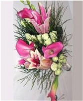 Pink Lily, Calla & Spray Rose Bridesmaid Bouquet