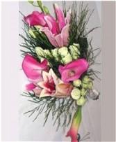 Pink Lily, Calla & Spray Rose Bridesmaid Bouquet