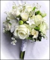 ALL WHITE HAND-TIED FLOWERS Bridesmaid Bouquet
