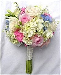 Hydrangea, Pink & White Roses Bridesmaid Bouquet