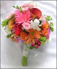 Hot Pink Hand-tied Bridesmaid Bouquet