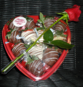 B.) Medium Heart Basket. Chocolate covered Strawberry