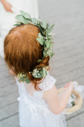 Babies Breath and Eucalyptus Flower Girl Crown