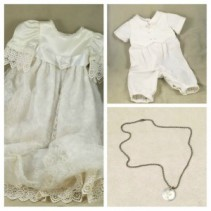 Baby Baptism Christening Gown, Suit & Necklace