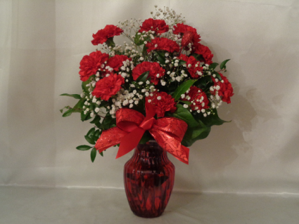 Red Carnations Vase Arrangement