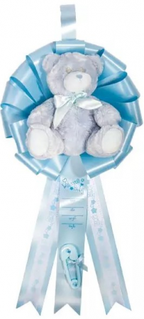 Baby Birth Announcement Ribbon w/ Plush Teddy Be Hanging Display Piece
