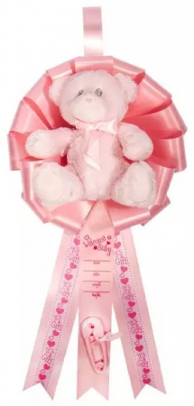 Baby Birth Announcement Ribbon with Plush Teddy Be Hanging Display