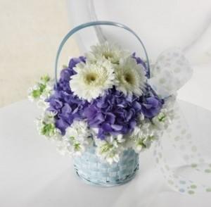 Baby Blue Basket Bouquet in Monument, CO | ENCHANTED FLORIST