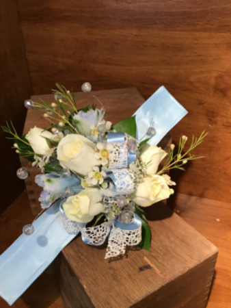 Baby blue corsage
