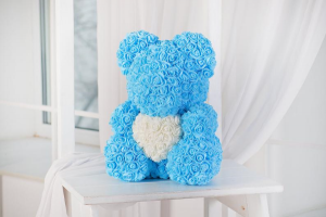 Baby Blue Teddy Rose Bear  in New York, NY | Bella's Flowers New York City