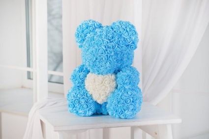 BABY BLUE TEDDY ROSE BEAR DISPLAY BOX INCLUDED