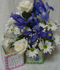 Baby boy arrangement in blues and whites or Baby  Girl arrangement in pinks and whites