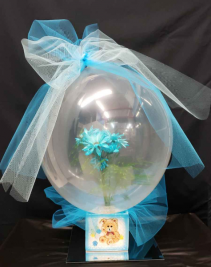 Baby Boy Balloon Fresh flowers in a balloon