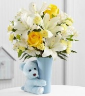 Baby Boy Big Hug Arrangement Fresh Flower Keepsake