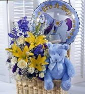 BABY BOY JOY BABY BOY BASKET, BALLOON AND TEDDY BEAR