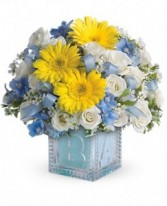 Baby Boy Keepsake Block Fresh Flowers Bouquet