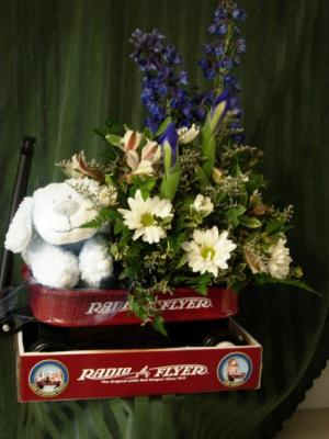 Baby Boy Radio Flyer Baby in Duvall, WA | FLOWERS BY SCHATZI (DUVALL FLOWERS & GIFTS)