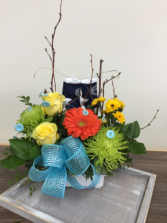 Baby boy socks on a clothesline Baby arrangement