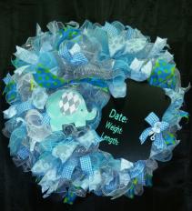 Blue Elephant Baby Wreath