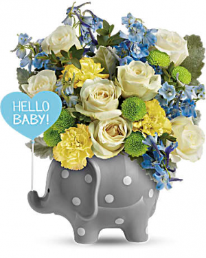 Baby Elephant (Blue) New Baby Arrangement in Warrington, PA | ANGEL ROSE FLORIST INC.