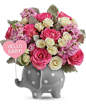 Baby Elephant (Pink) New Baby Arrangement in Warrington, PA | ANGEL ROSE FLORIST INC.
