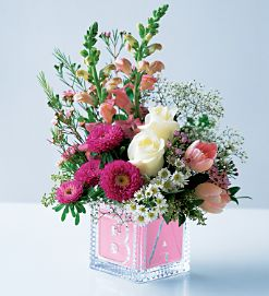 Baby Girl ABC Block Glass cube in Granville, NY | The Florist at Mandy's Spring