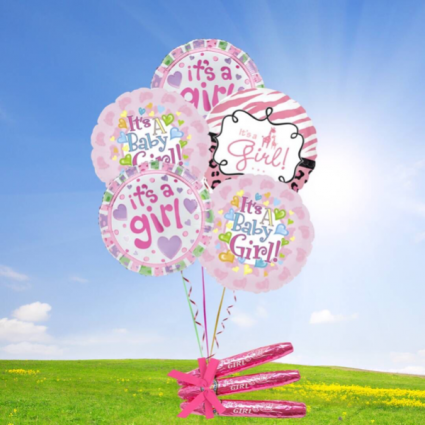 Baby Girl Balloon bouquet- chocolate cigars