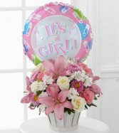 Baby Girl Basket Includes Balloon