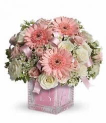 Baby Girl Block fresh flowers