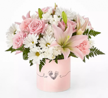 Baby Girl Bouquet Ceramic Container