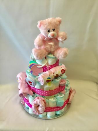 Baby Girl Diaper Cake Gift basket