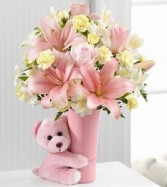 Baby Girl Big Hug Arrangement Fresh Flower Keepsake
