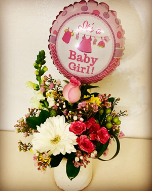 Baby Girl Pottery Vase Pink Floral Mix in Plainview, TX | Kan Del's Floral, Candles & Gifts