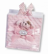 Baby girl Receiving blanket and rattle Bearington bear collection