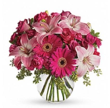 Hot pink Vase Arrangement  Vase