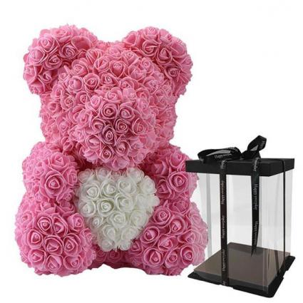 BABY PINK ROSE BEAR HUGGING WHITE HEART