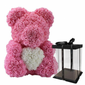 BABY PINK ROSE BEAR HUGGING WHITE HEART