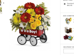 Baby wagon Fresh flowers arranged beautifully in a little red wagon in Fairfield, OH | NOVACK-SCHAFER FLORIST