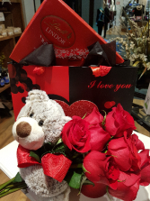 V DAY SPECIAL $95.00 12 rose, bear and chocolates