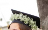 BABY'S BREATH CROWN GRADUATION CAP/HEADPIECE