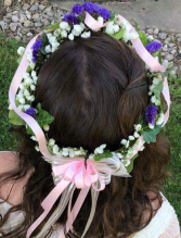 Baby's Breaths, statice & ivy Floral Headpiece