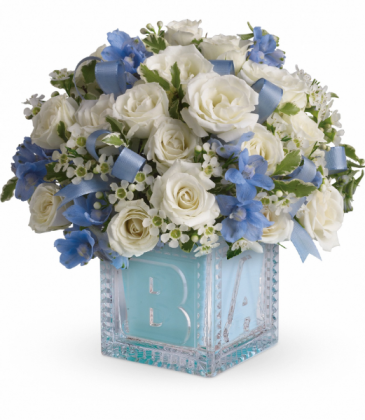 Baby's First Block - Blue All-Around Floral Arrangement