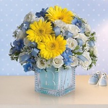 Baby's First Block - Blue New Baby Arrangement