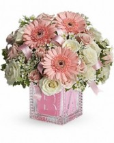 Baby's First Block by Teleflora - Pink New Baby Flowers