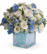 Baby's First Block by Teleflora - Blue Fresh Floral