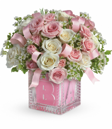 Baby's First Block by Teleflora - Pink Fresh Arrangement