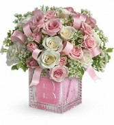 Baby's First Block by Teleflora  Vase Arrangmen - Pink Flowers