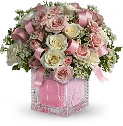 """Exclusively at Flowers Today Florist Baby's First """"Crystal"""" Block Girl in New Port Richey, FL 