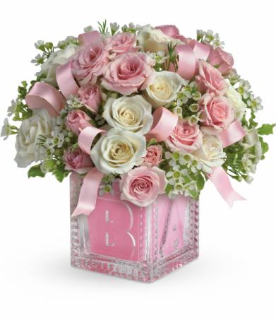 Baby's First Block - Pink All-Around Floral Arrangement